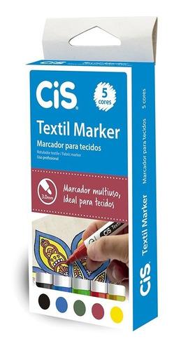 caneta textil marker para tecido 5 cores