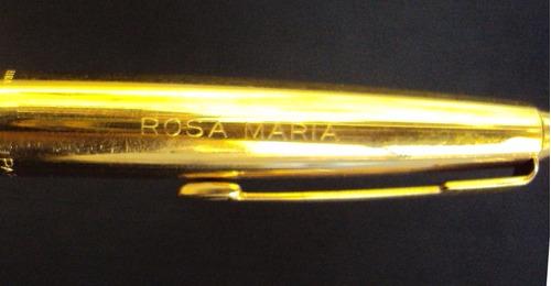 caneta tinteiro antiga parker dourada com nome rosa maria