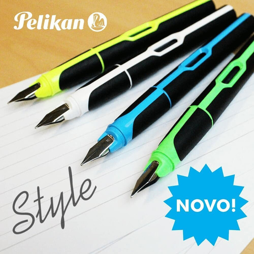 caneta tinteiro caligrafia pelikan style azul + cartucho