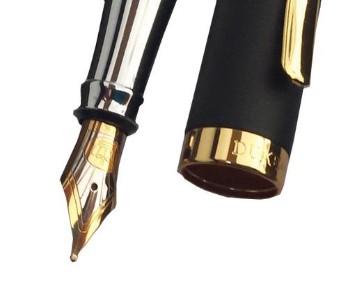 caneta tinteiro duke alemã presente +10 cartuchos e gravação