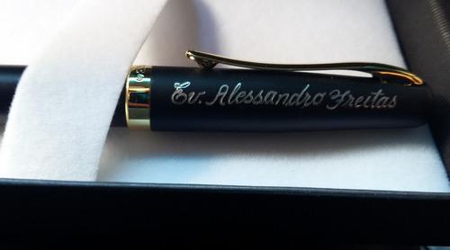 caneta tinteiro duke alemã presente + gravação + 56 ml tinta