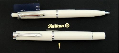 caneta tinteiro e esfero pelikan m 205 - brancas - novas!!!