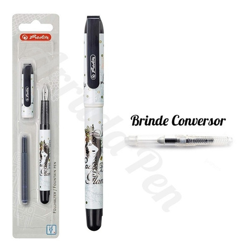 caneta tinteiro herlitz treend4teens fab pelikan + conversor