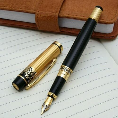 caneta tinteiro luxo hero 901 bico de pena preta / dourado