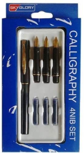 canetas glory de caligrafia 4 penas banhadas ouro