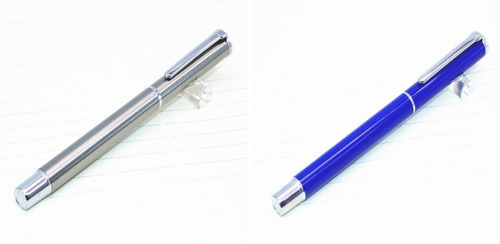canetas tinteiro baoer 801: duas, aço inox e azul. barato