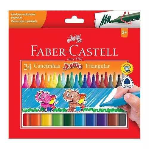 canetinha 24 cores jumbo triangular faber castell