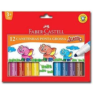 canetinha caneta hidrográfica 12 cores jumbo - faber castell