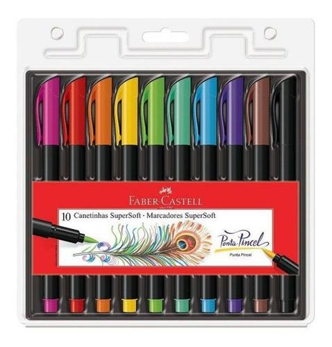canetinha supersoft faber castell marcador pincel 10 cores