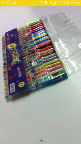 canetinhas caneta esferográfica tinta gel glitter colorgel