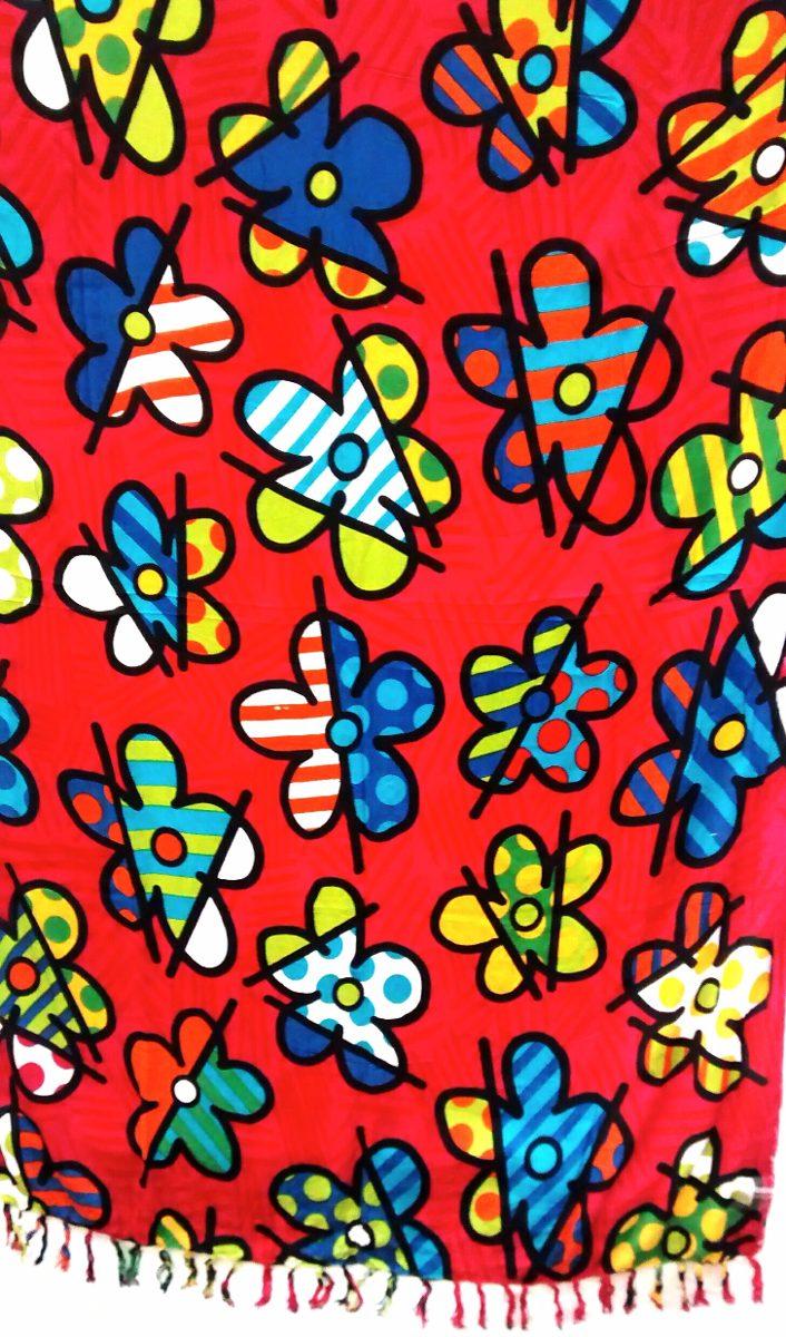 Canga de praia piscina romero britto estampa floral ver o for Piscina fum d estampa