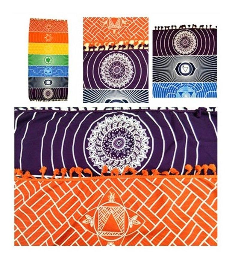 485af60d49bb canga manta tapete colorido 7 chakras para yoga e decoração. Carregando  zoom.