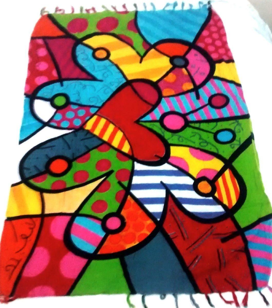 babe6296a943 Canga De Praia Toalha Saída De Praia Romero Brito - R$ 89,00 em ...