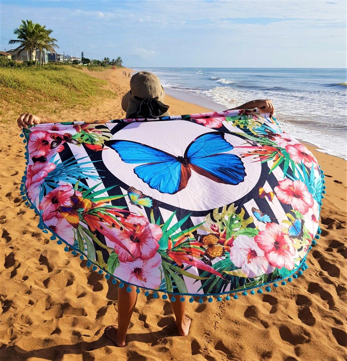 ae2b27c82 Canga Redona, Saída De Praia, Luxo, Moda Praia, Borboleta - R$ 139 ...