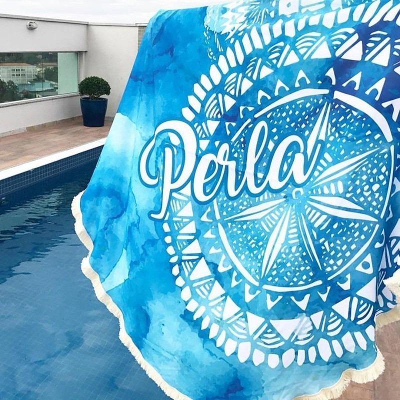 b1165c2fd Canga Redonda Personalizada | Canga De Praia Blue - R$ 219,90 em ...