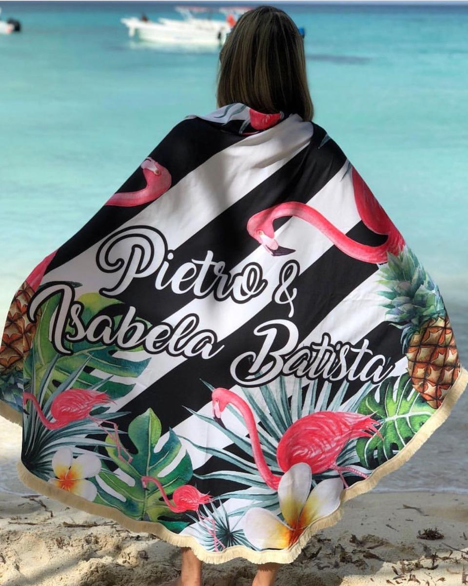 3424257f2 canga redonda personalizada | canga praia flamingos listrado. Carregando  zoom.