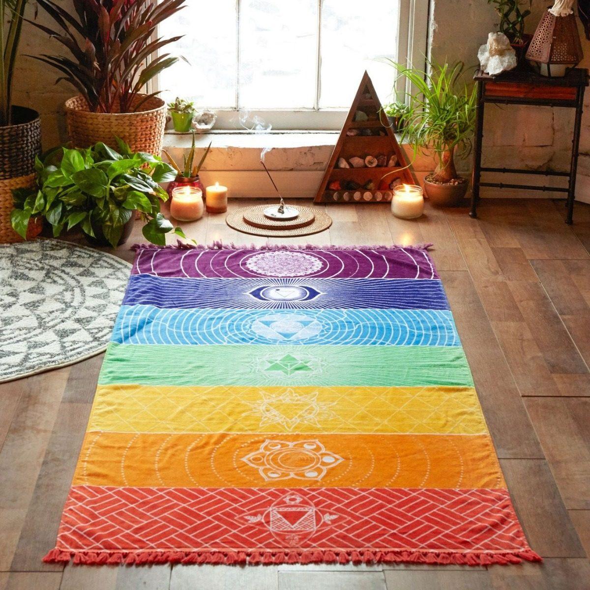 038e533ef6 canga tapete yoga mat chakra poliéster meditação mandala zen. Carregando  zoom.