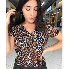 6eda9f418a Blusa Camisa Tule Transparente Onça Animal Print Moda