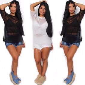 299d34ee96 Kit 2blusa Camisa Tule Transparente Moda Instagram Blogueira