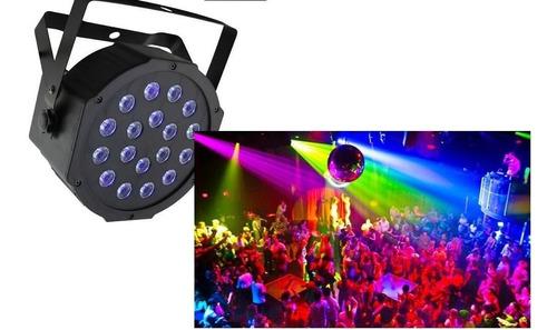 canhao refletor par64 com led uv 18x1w, sensor ritmico e dmx