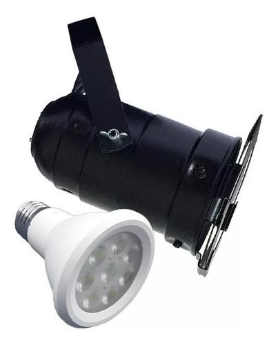 canhão refletor par 20 preto com porta-gelatina led 6w spot