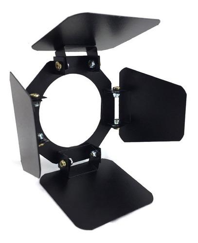 canhão refletor par 20 preto - porta-gelatina e barndoor