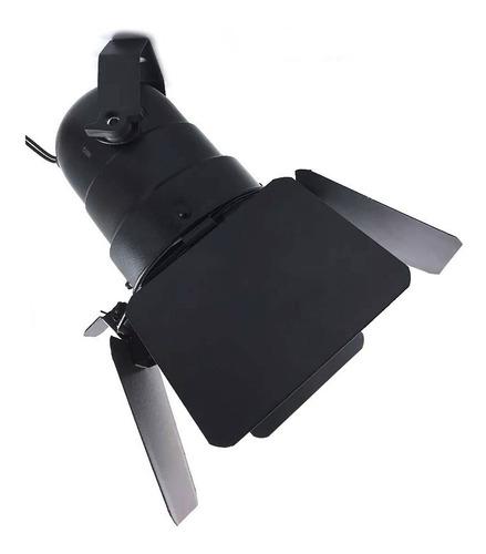 canhão refletor par 30 preto - porta-gelatina e barndoor
