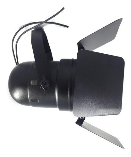 canhão refletor par 38 preto com bandeira barndoor integrado