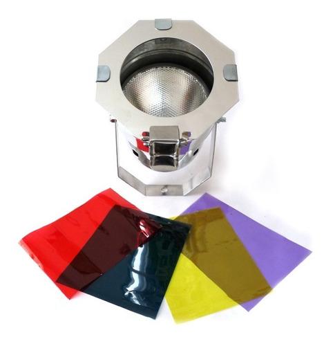 canhão refletor par38 com lâmpada 120w + gelatina - spot luz
