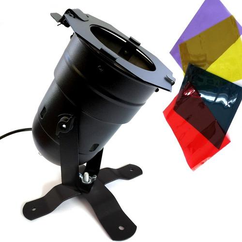 canhão refletor par38 + suporte + filtro colorido