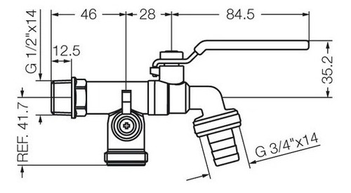 canilla fv 0436.04 combinada cierre esferico 13mm lavarropa