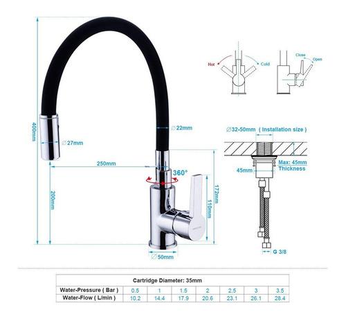 canilla monocomando flexible negra diseño para cocina mesada