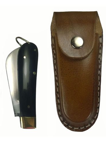 canivete aço carbono cabo de chifre com bainha de couro
