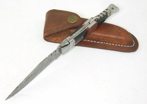 canivete aço damasco 252 cam de 1095 e 15n20