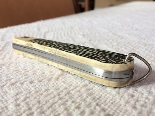 canivete antigo corneta em inox