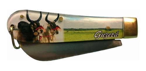 canivete cabo acrílico com figura em aço inox tipo pica fumo