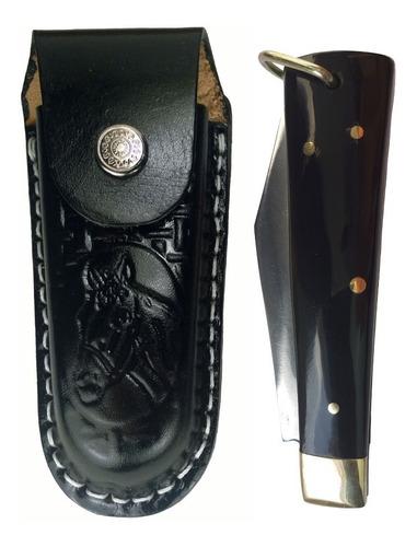 canivete cabo de chifre com bainha em aço inox com ponta
