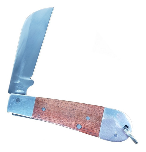 canivete cabo madeira com interso duplo alumínio lâmina inox