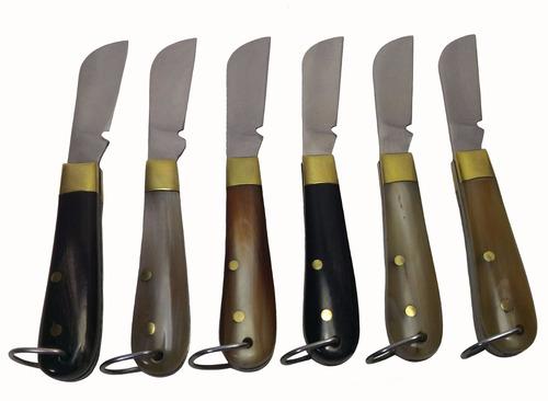 canivete chaveiro com bainha capa couro aço inox chifre 9 cm