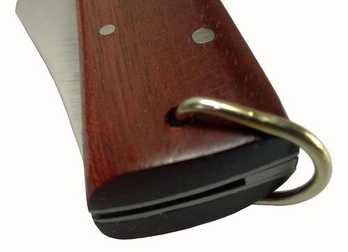 canivete churrasqueiro extra grande aço inox cabo de madeira