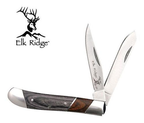 canivete clássico duas laminas elk ridge cabo em madeira