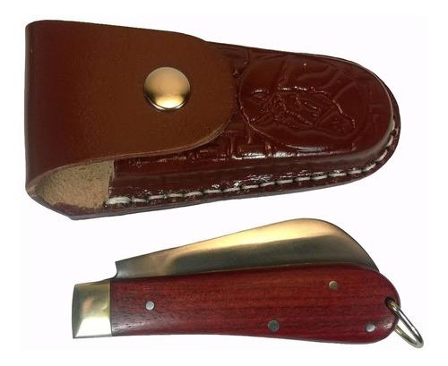canivete com bainha capa de couro aço carbono madeira 18 cm