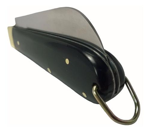 canivete com bainha capa de couro inox cabo de chifre 18cm
