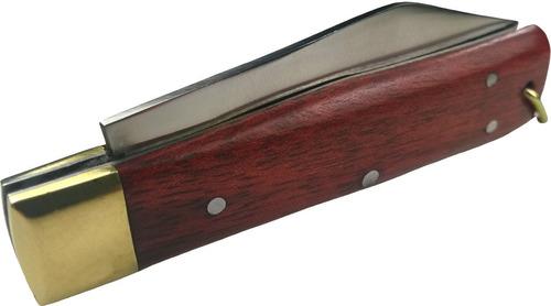 canivete com bainha capa de couro inox lamina com ponta 18cm