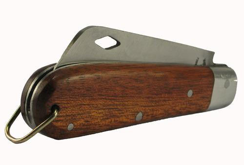 canivete com bainha capa de couro lâmina carbono vazada 18cm