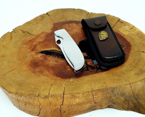 canivete elmo edc com bainha de couro aço inox novo original