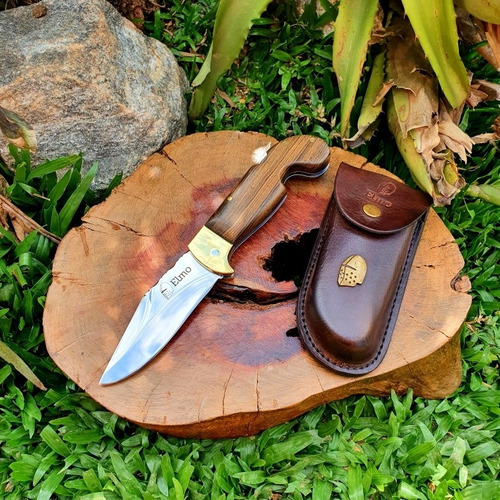 canivete elmo sorocaba inox mosqueado cabo em madeira nobre