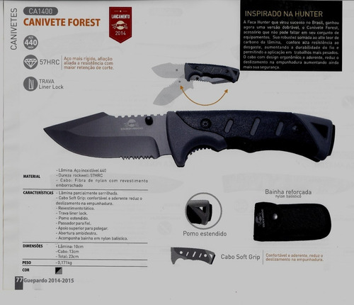 canivete forest tático aço inox 440 guepardo