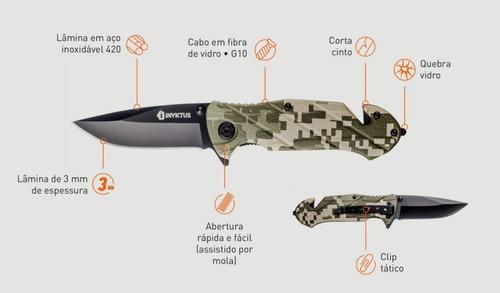 canivete invictus squad semi automatico original tatico top