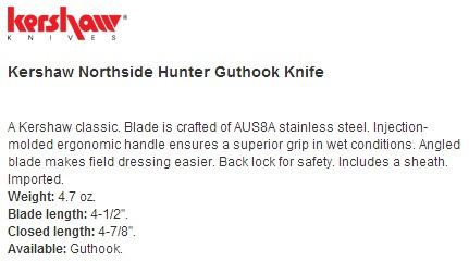 canivete kershaw northside hunting acompanha capa caça